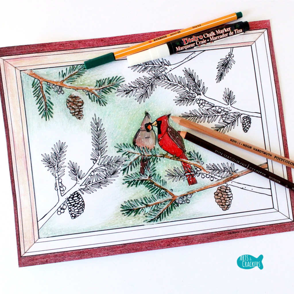 Two Birds of a Feather Christmas Coloring Page for Adults Square