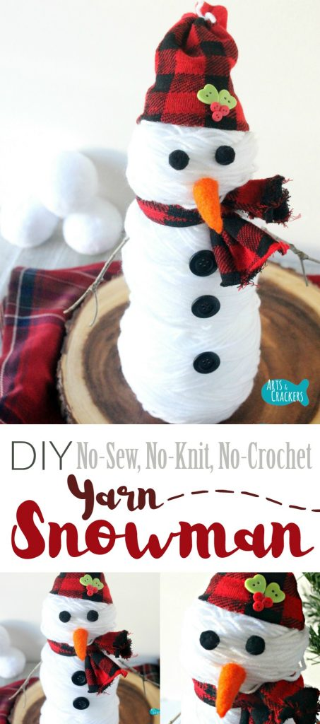 Even if you're not so crafty, this cute snowman is a cinch. The whole snowman took about 5 minutes to make and is made of beautiful white yarn | Snowman | Snowman Craft | Cute Snowman | Winter Craft | DIY Snowman | Yarn Snowman | Yarn Craft | Knitting | Not So Crafty | Easy Crafts | Simple Crafts | Christmas Crafts | Holiday Decor | Winter Decor | No-Sew | Make with Yarn | Handmade | Make with Socks | 5 Minute Crafts | Yarn Stein