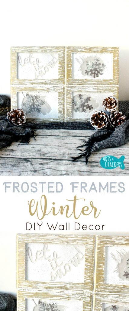 This Frosted Frames Winter Home Decor is just what you need to bring some winter cheer indoors. | Winter | Frames | Window Crafts | Winter Home Decor | Home Decorating | DIY | Crafts | Wall Decor | Interior Decorating | Snow | Pine Cone Decor | Frosted Glass | Winter Decor | Winter Season | Tutorial | Oriental Trading Company | Photo Frames | Wooden Frames | Window Frames