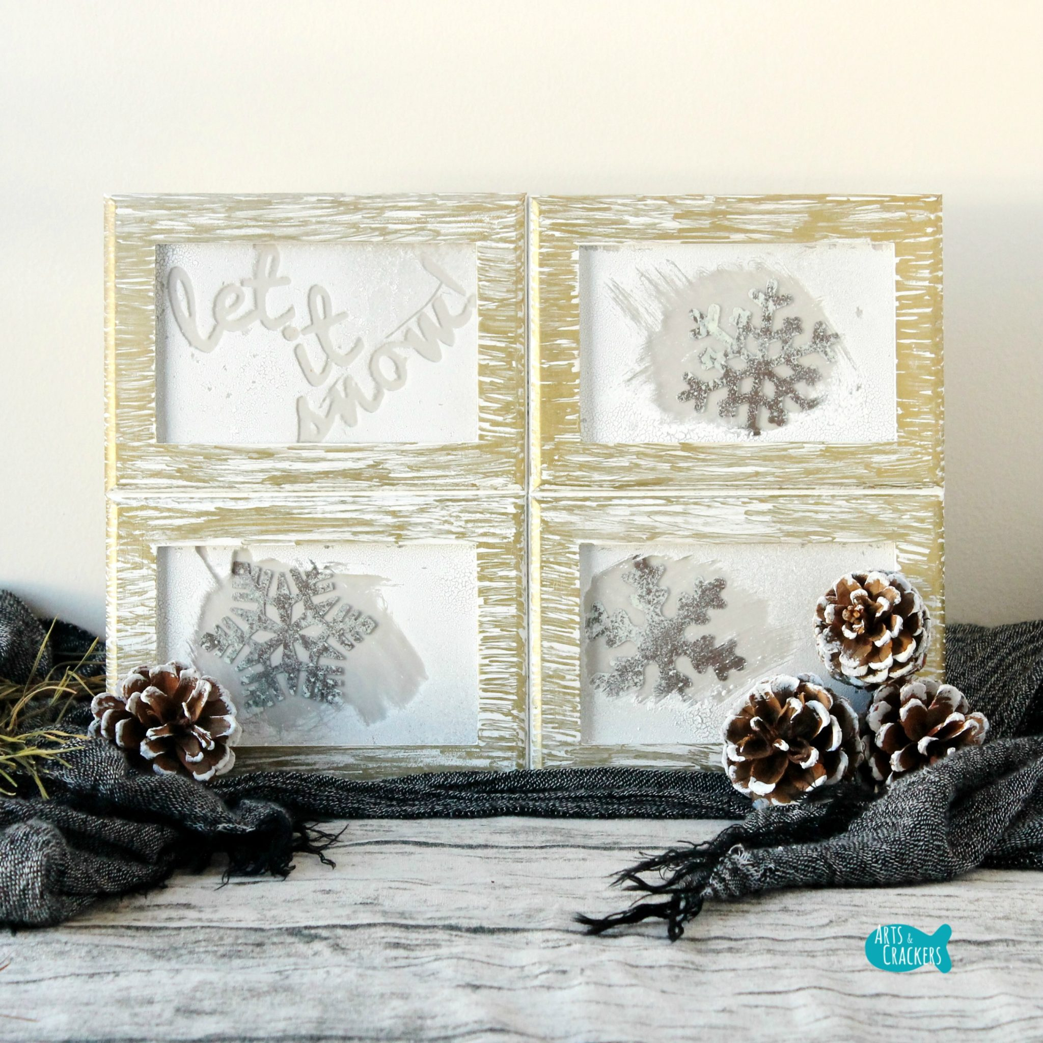 Rustic Frosted Frames Winter Home Decor DIY Project Tutorial