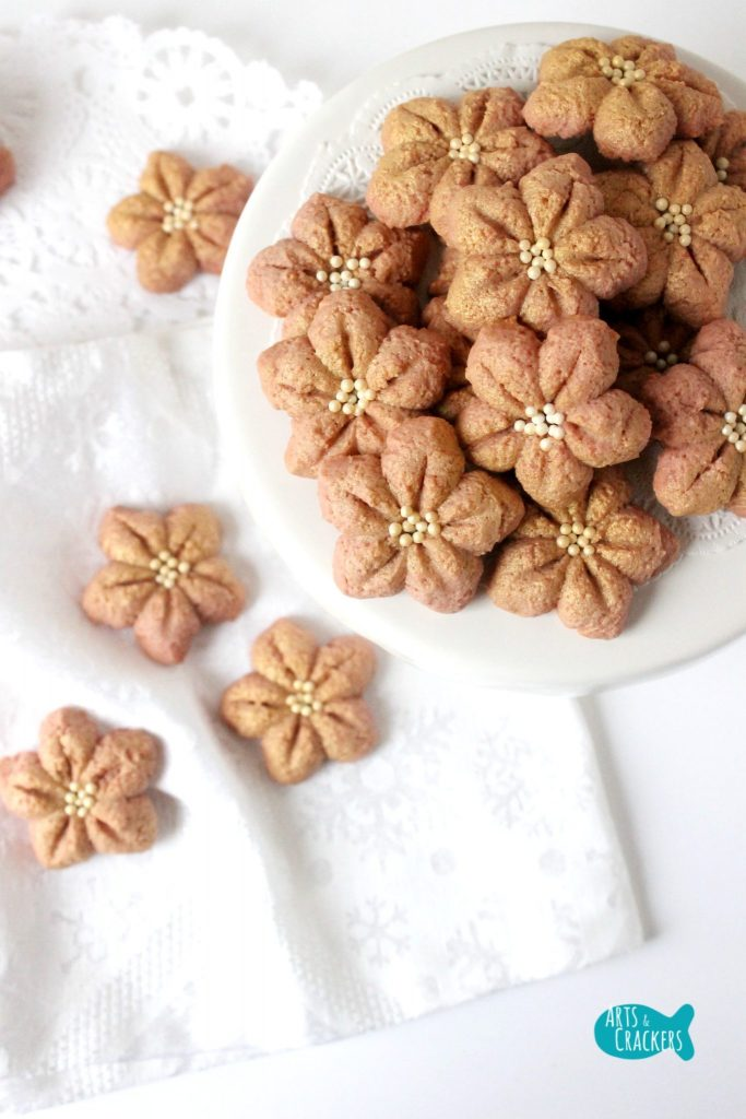 Poinsettia Spritz Cookie Recipe Easy Christmas Cookies Long