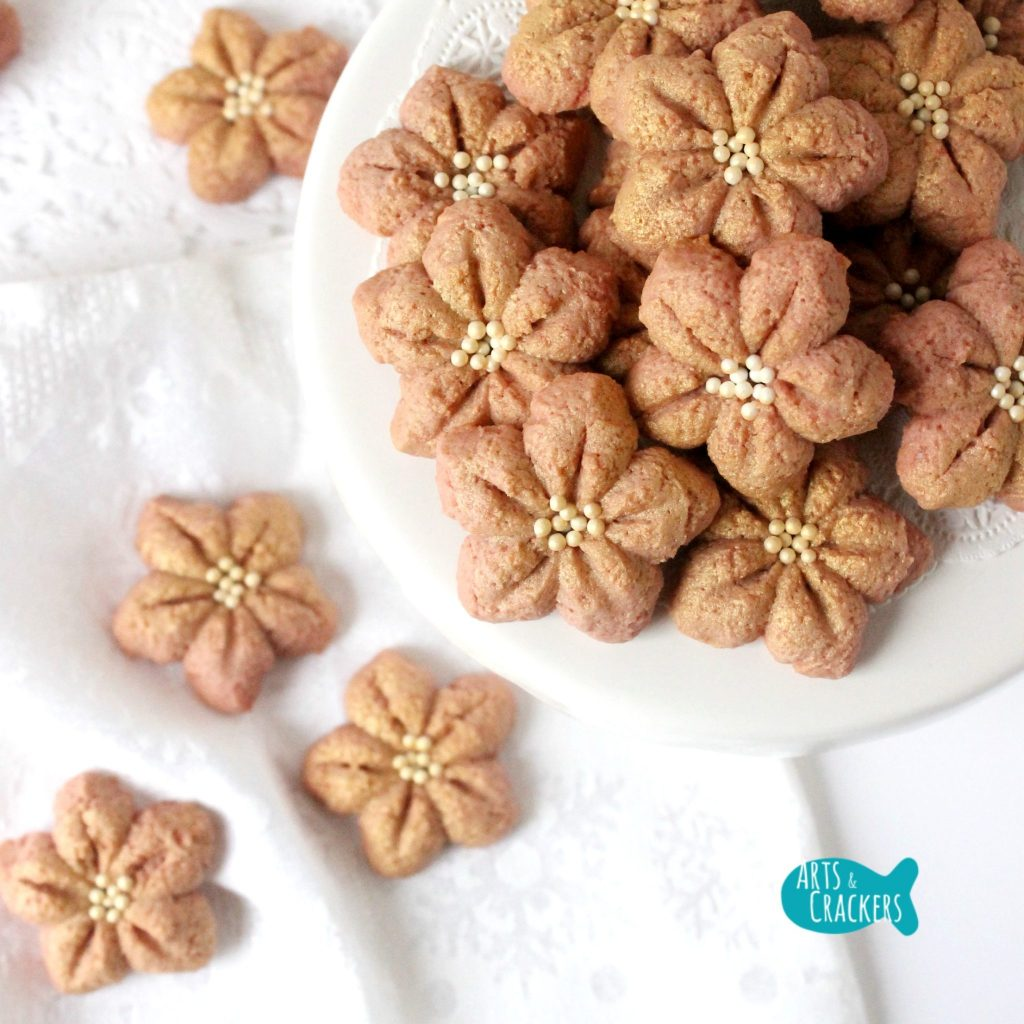 Poinsettia Spritz Cookie Recipe Easy Christmas Cookies Square