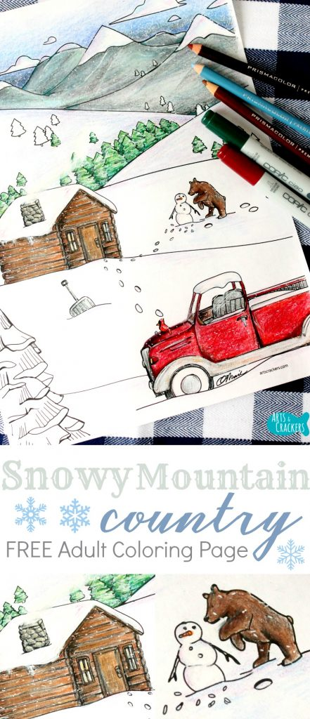 This free adult coloring page captures the snowy mountain country landscape | Winter Coloring Page | Coloring Pages for Adults | Adult Coloring | Coloring Page | Free Coloring Page | Car Coloring Page | Truck Coloring Page | Automobile Coloring Page | Country Coloring Page | Mountains | Snow | Snow Coloring Page | Adult Coloring Resources | Colored Art Pencils | Prismacolor Pencils | Copic Markers | Free Printable | Free Coloring Page | Log Cabin | Coloring Therapy | Stress-Relief | Winter | Winter Landscape