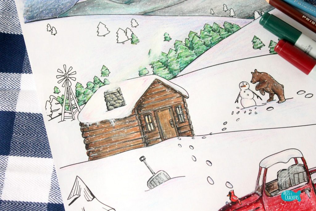 Snowy Mountain Country Free Adult Coloring Page for Winter Cabin