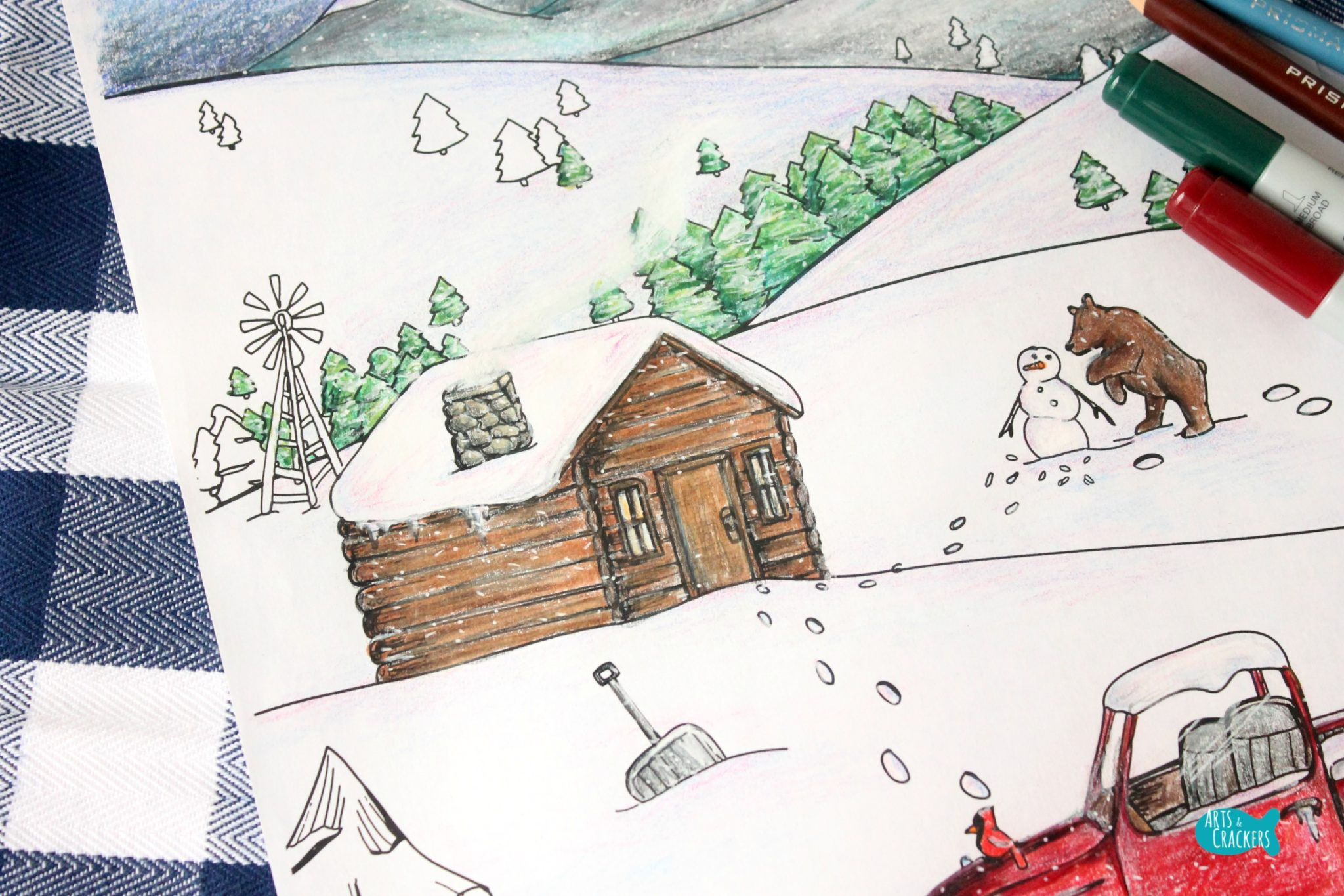 Coloring Pages Animals In Winter : Snowy mountain country free adult coloring page for winter