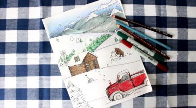 Snowy Mountain Country Free Adult Coloring Page for Winter Cover
