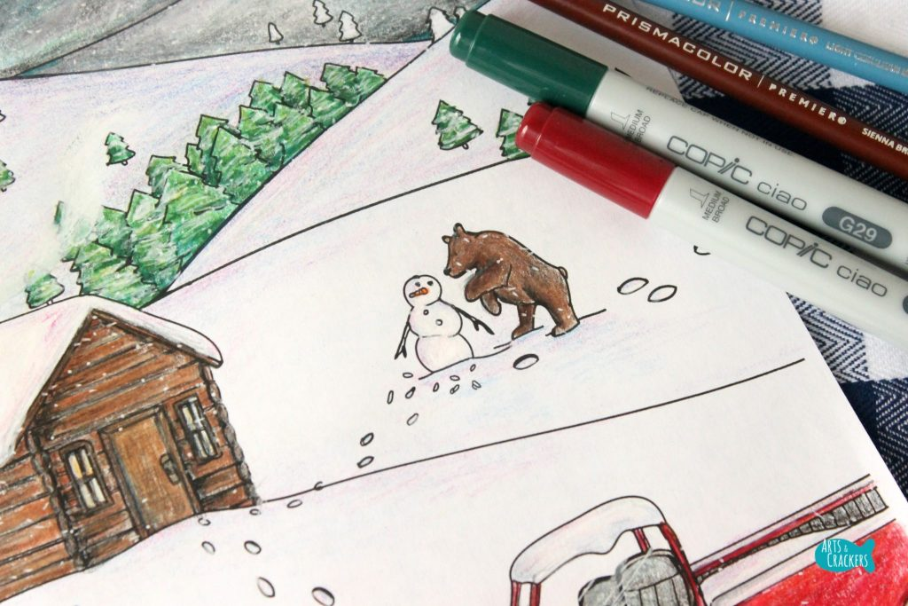 Snowy Mountain Country Free Adult Coloring Page for Winter Bear and Snowman
