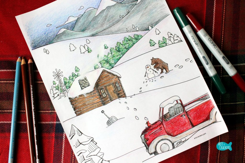 Snowy Mountain Country Free Adult Coloring Page for Winter Landscape