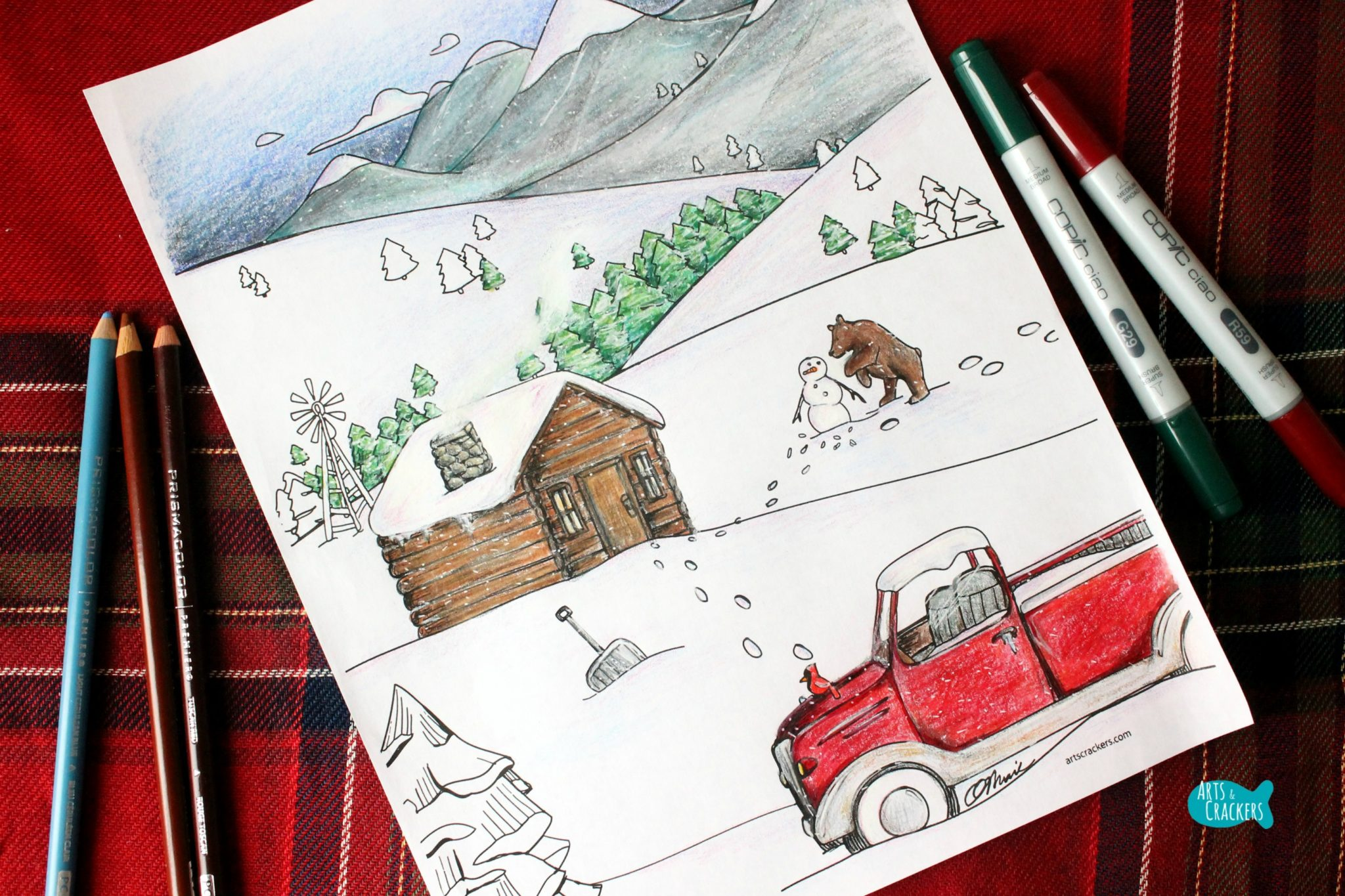 snowy mountain country free adult coloring page for winter landscape - Mountain Landscape Coloring Pages