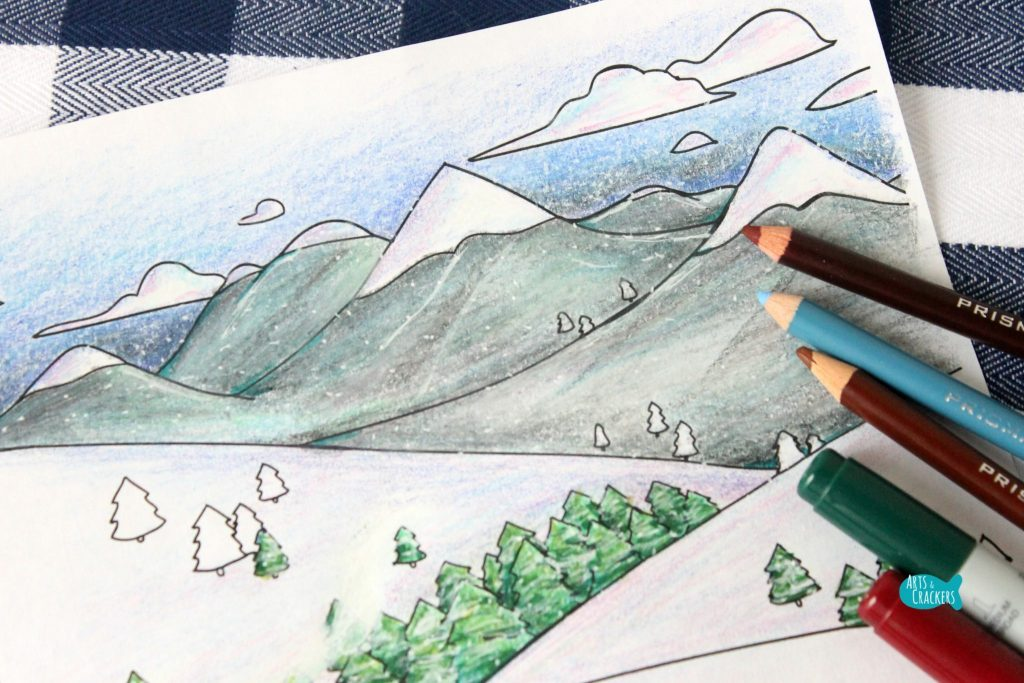 Snowy Mountain Country Free Adult Coloring Page for Winter Mountains