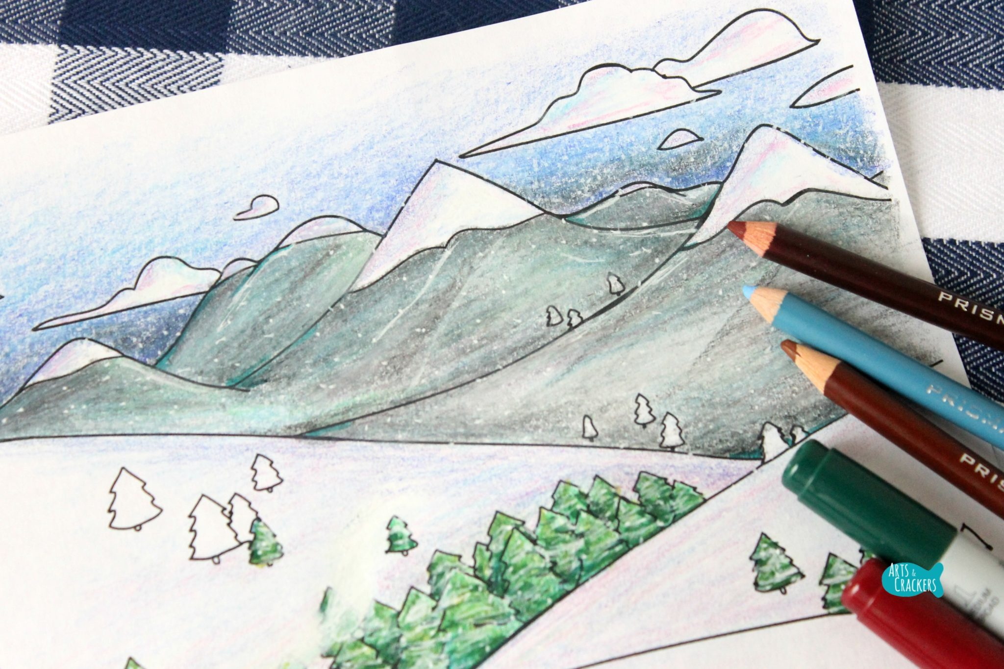 snowy mountain country free coloring page for winter