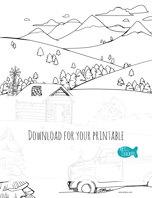 Free snowy mountain country adult coloring page arts for Snowy mountain coloring page