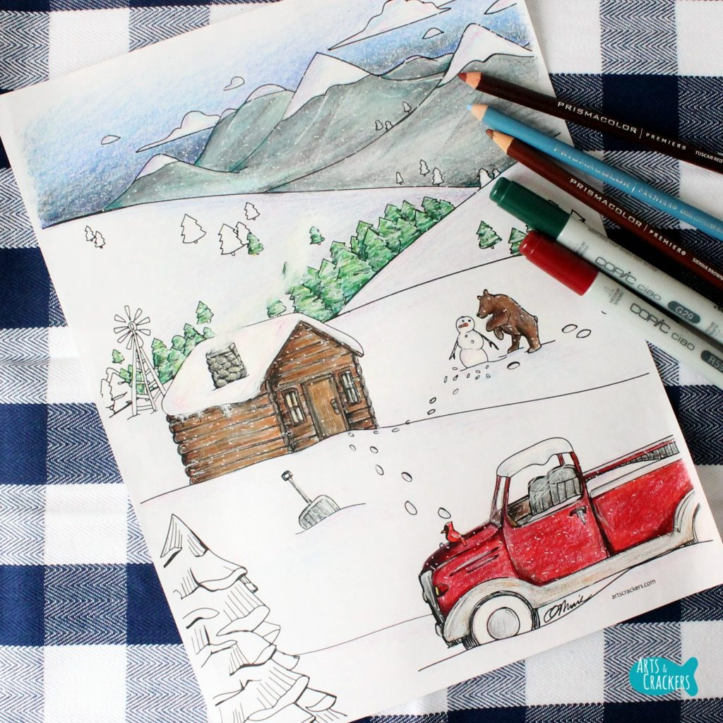 Snowy Mountain Country Free Adult Coloring Page for Winter Square
