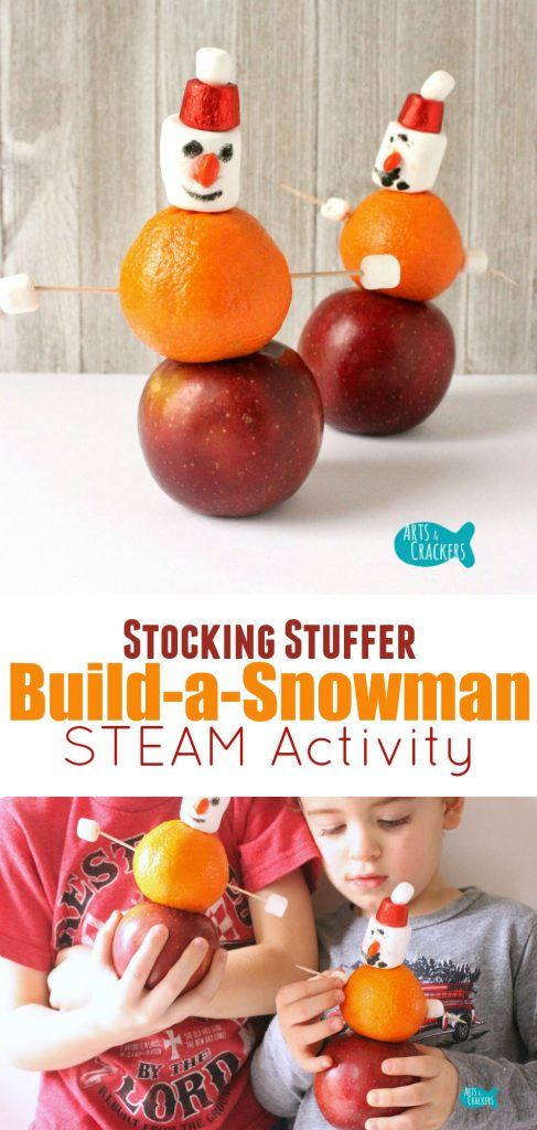 Stack, decorate, and build a snowman with this fun winter STEAM activity | STEAM | STEM | Science | Math | Art for Kids | Snowman | Stocking Stuffer | Kid Snacks | Learning Activities | Hands-On Learning | Classroom | Winter Activities | Kids Activities | Early Childhood Education | Engineering for Kids | Homeschool | Teaching | Build a Snowman | Stacking Activity | Teaching Physics | Edible Crafts | Marshmallow Snacks | Indoor Activities | Apples and Oranges