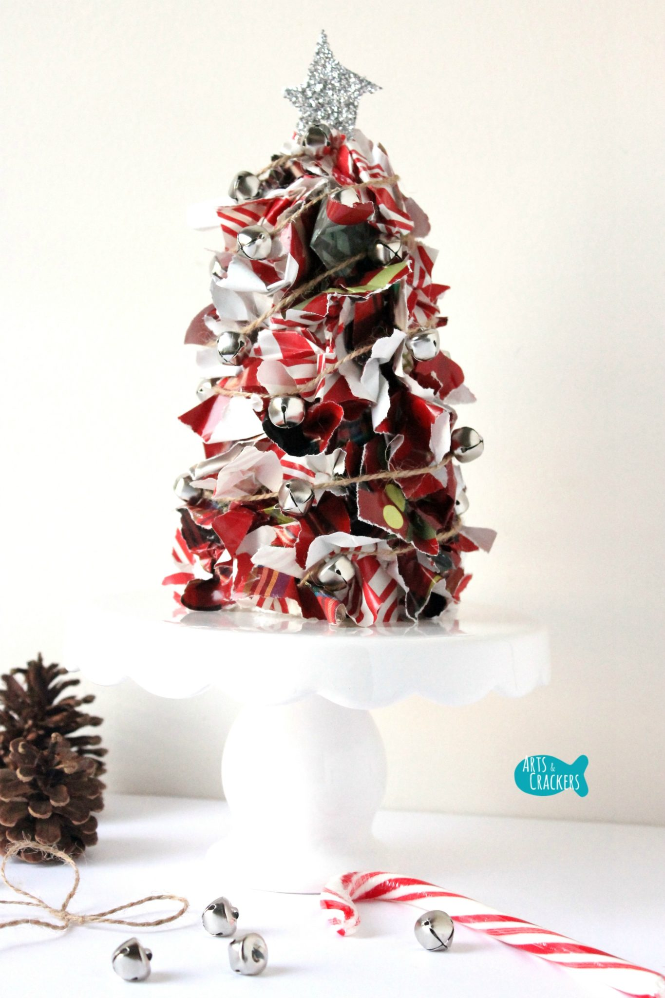 Upcycled christmas wrapping paper tree centerpiece