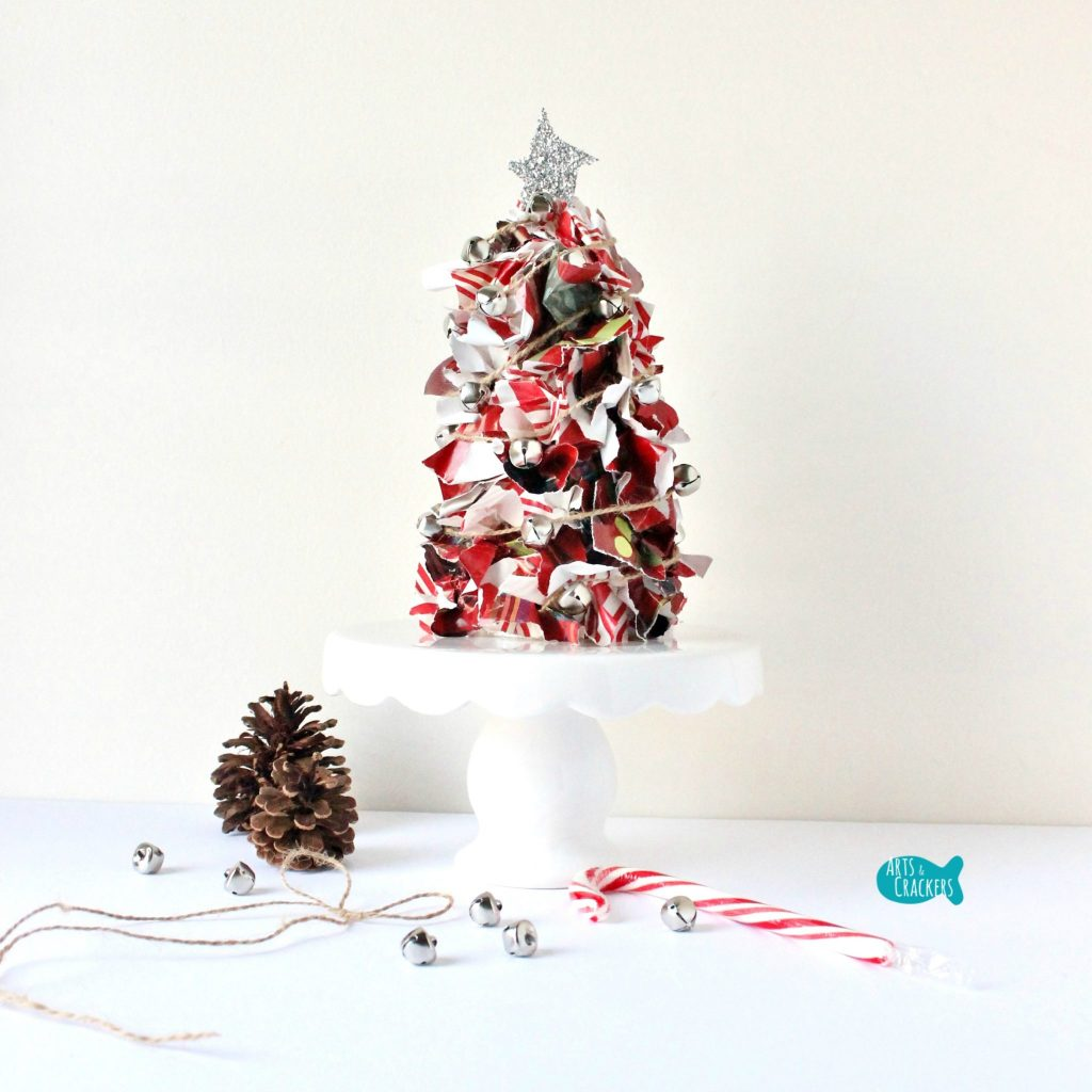 Upcycled Christmas Wrapping Paper Tree Square