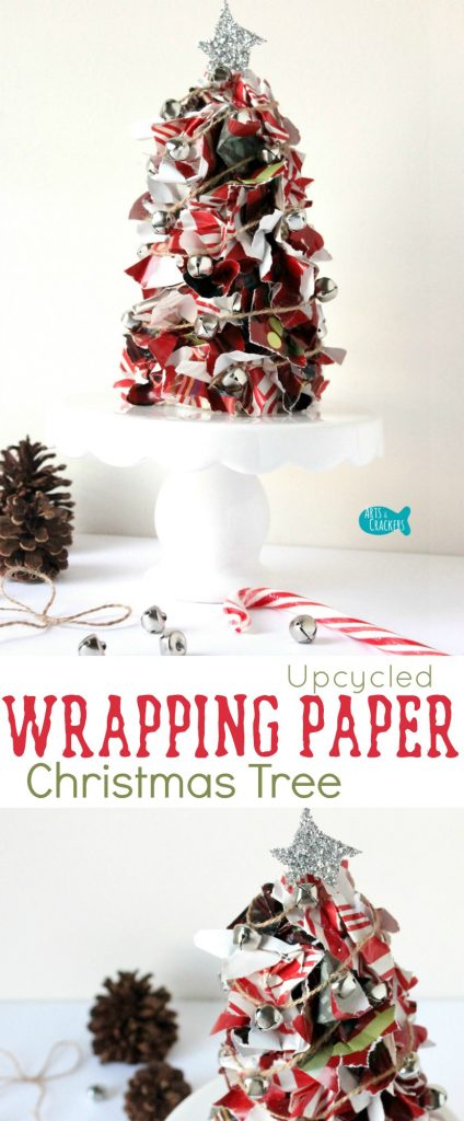 Tutorial: Something to do with all those Christmas wrapping paper scraps--make a wrapping paper Christmas tree table centerpiece! Wrapping Paper | Upcycle | Upcycled Crafts | Christmas Crafts | Christmas Decor | Christmas Decorations | DIY Christmas | Christmas Tree | Christmas Wrapping Paper | Upcycling | Reuse | Quirky Crafts | DIY Project | Jingle Bells | Handmade | Easy Crafts | Holiday Crafts | Holiday Season | DIY Centerpiece | DIY Table Topper