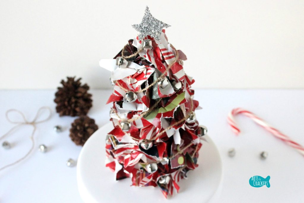 Upcycled Christmas Wrapping Paper Tree Top