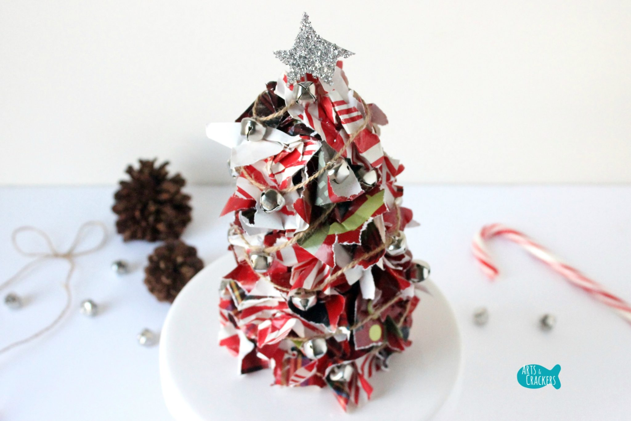 Paper Christmas Centerpiece : Upcycled christmas wrapping paper tree centerpiece