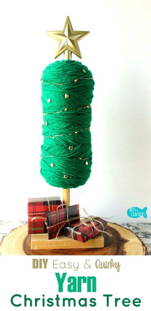 This Easy No-Sew Yarn Tree is a quirky and fun Christmas decoration   Yarn Tree Tutorial   DIY Yarn Tree   Yarn Tree   Yarn Skein   Yarn Crafts   Yarn Ball Craft   Christmas Tree   Christmas Decor   Holiday Decor   Quirky Crafts   Tree Topper   5 Minute Crafts   Easy Crafts   No Sew   DIY Project   Home Decorating   Christmas Lights   Crafts for Beginners   Bobby Pins   Custom Decor