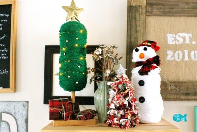 DIY Yarn Christmas Tree Displayed