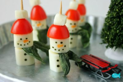 Caprese Salad Snowmen Appetizer Close