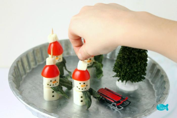 Caprese Salad Snowmen Appetizer Grab and Eat