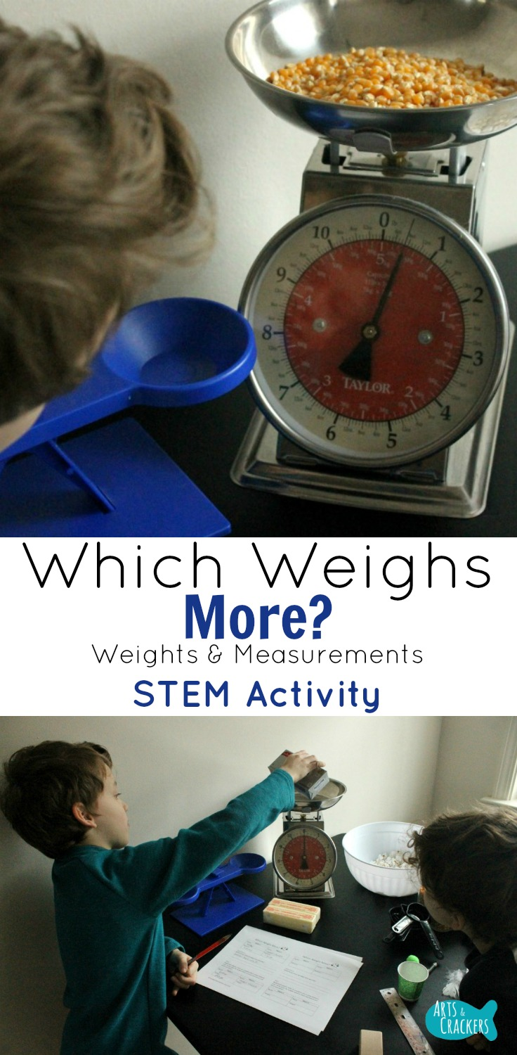 Explore weights and measurements with this STEM activity--which weighs more? STEM Education | Homeschool | Measuring | Science | Mathematics | Worksheets | Balance Scale | Weight Scale | Early Childhood Education | STEM Challenge | Learning Activity | Teachers | 1st Grade | Free Printable | STEM Activity | Science Activity | Math Activity | STEM for Kids