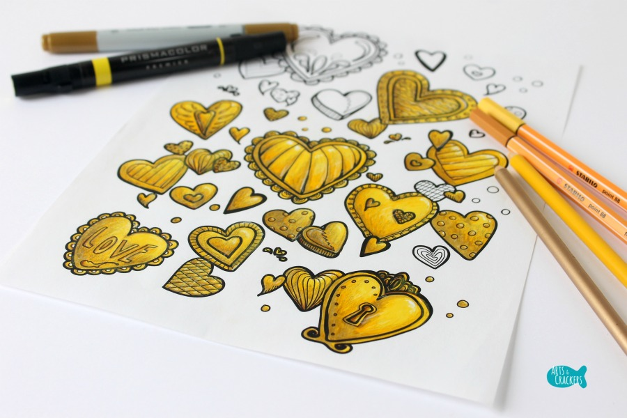 With All Thy Heart Adult Coloring Page Golden Horizontal