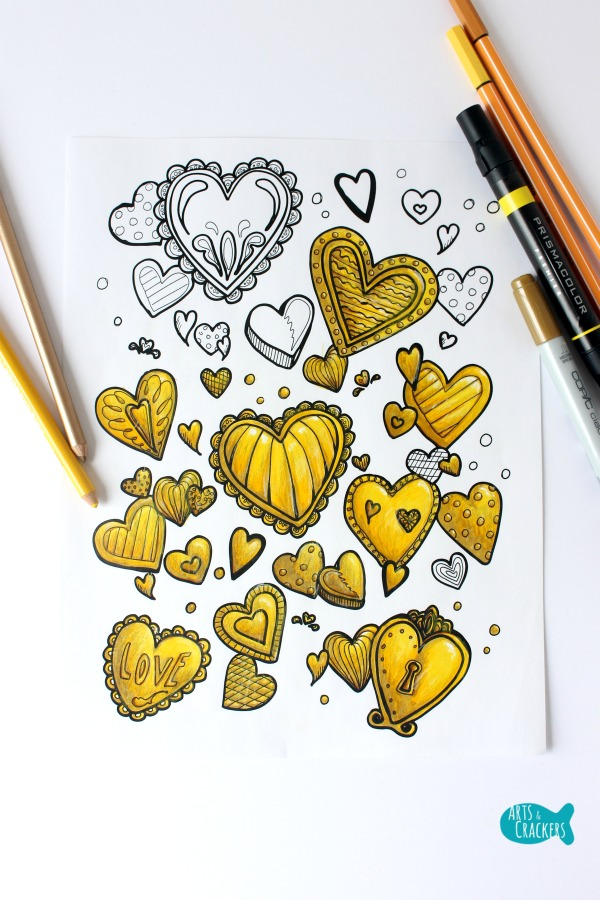 With All Thy Heart Adult Coloring Page Golden Interesting