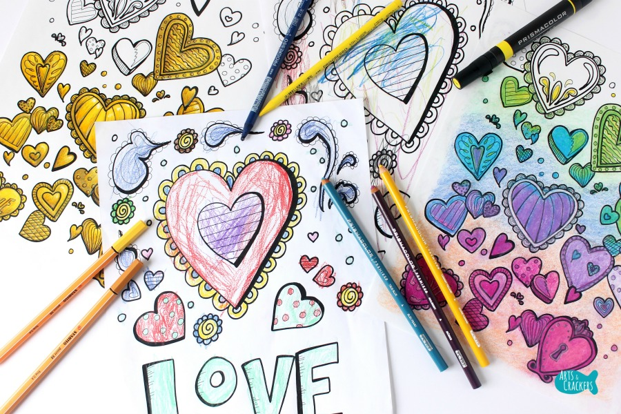 With All Thy Heart Adult Coloring Page Two Designs E on Top