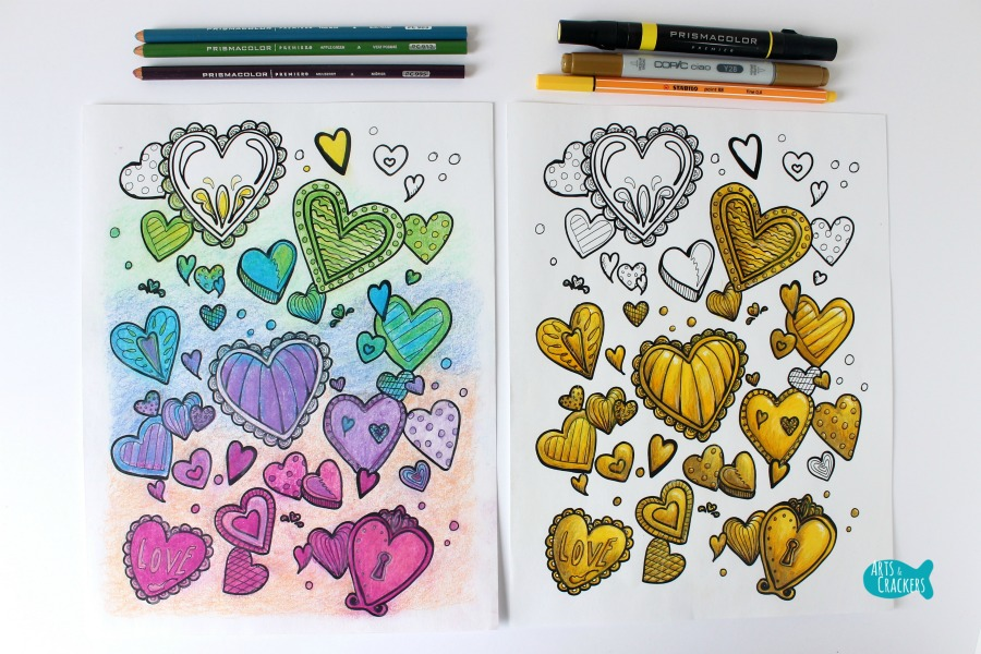 With All Thy Heart Adult Coloring Page Two Designs HEARTS