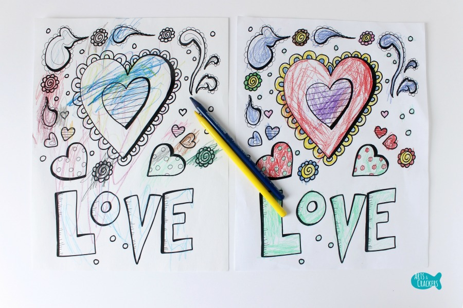 With All Thy Heart Adult Coloring Page Two Designs LOVE