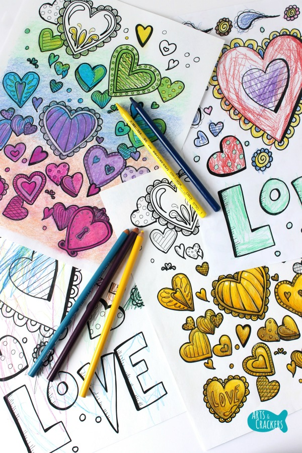With All Thy Heart Adult Coloring Page Two Designs Long