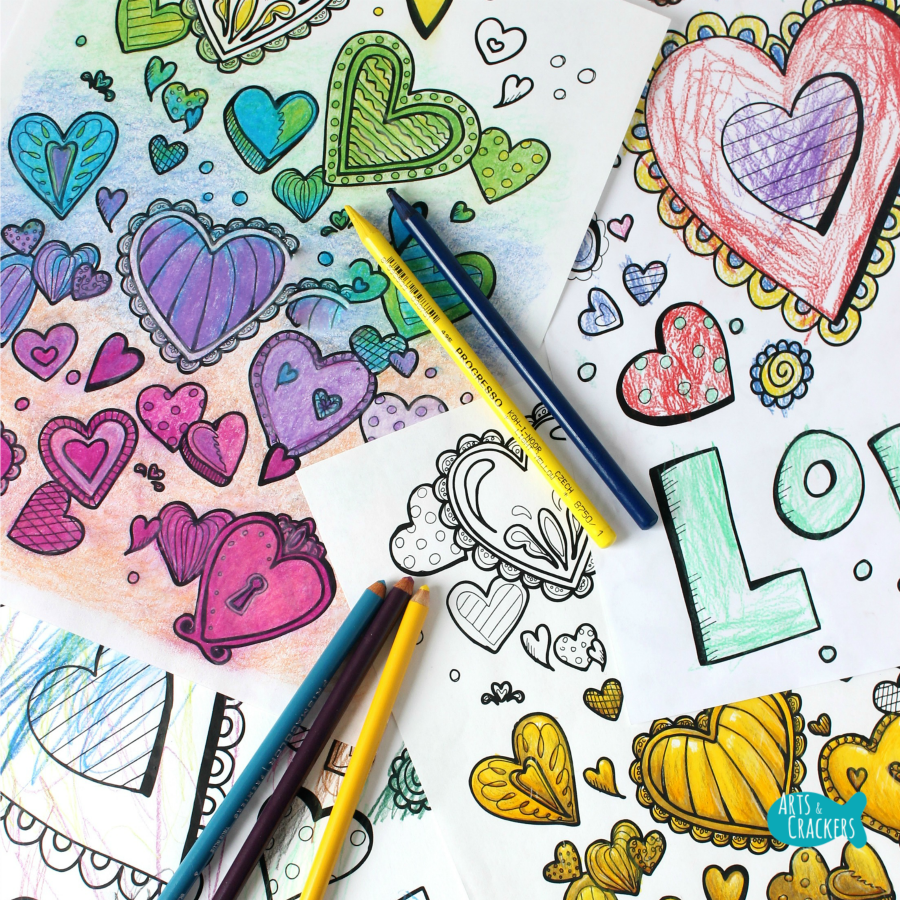 With All Thy Heart Adult Coloring Page Two Designs Square