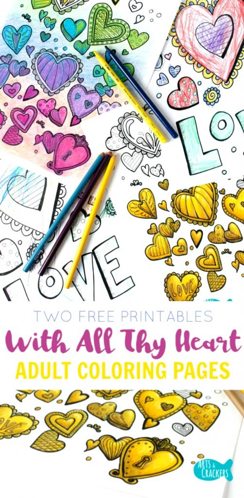 Color these free printable adult coloring pages with all your heart. artscrackers.com | Coloring Page | Free Coloring | Adult Coloring | Stress Reliever | Hearts | Heart Coloring Pages | Love | Printable | Let's Color Together | Coloring Therapy