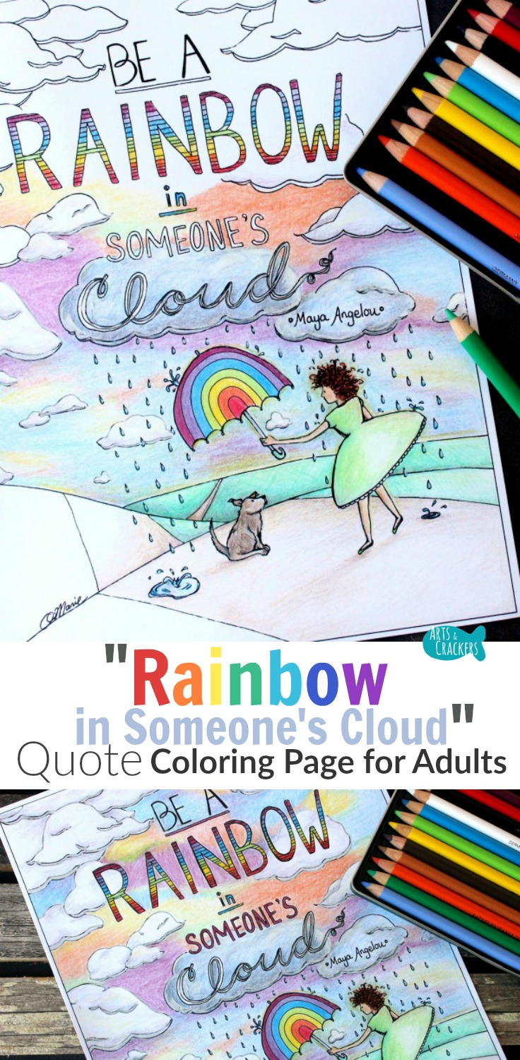 embrace your whimsical side and serve others while coloring this beautiful quote coloring page for adults - Coloring Page Rainbow Clouds