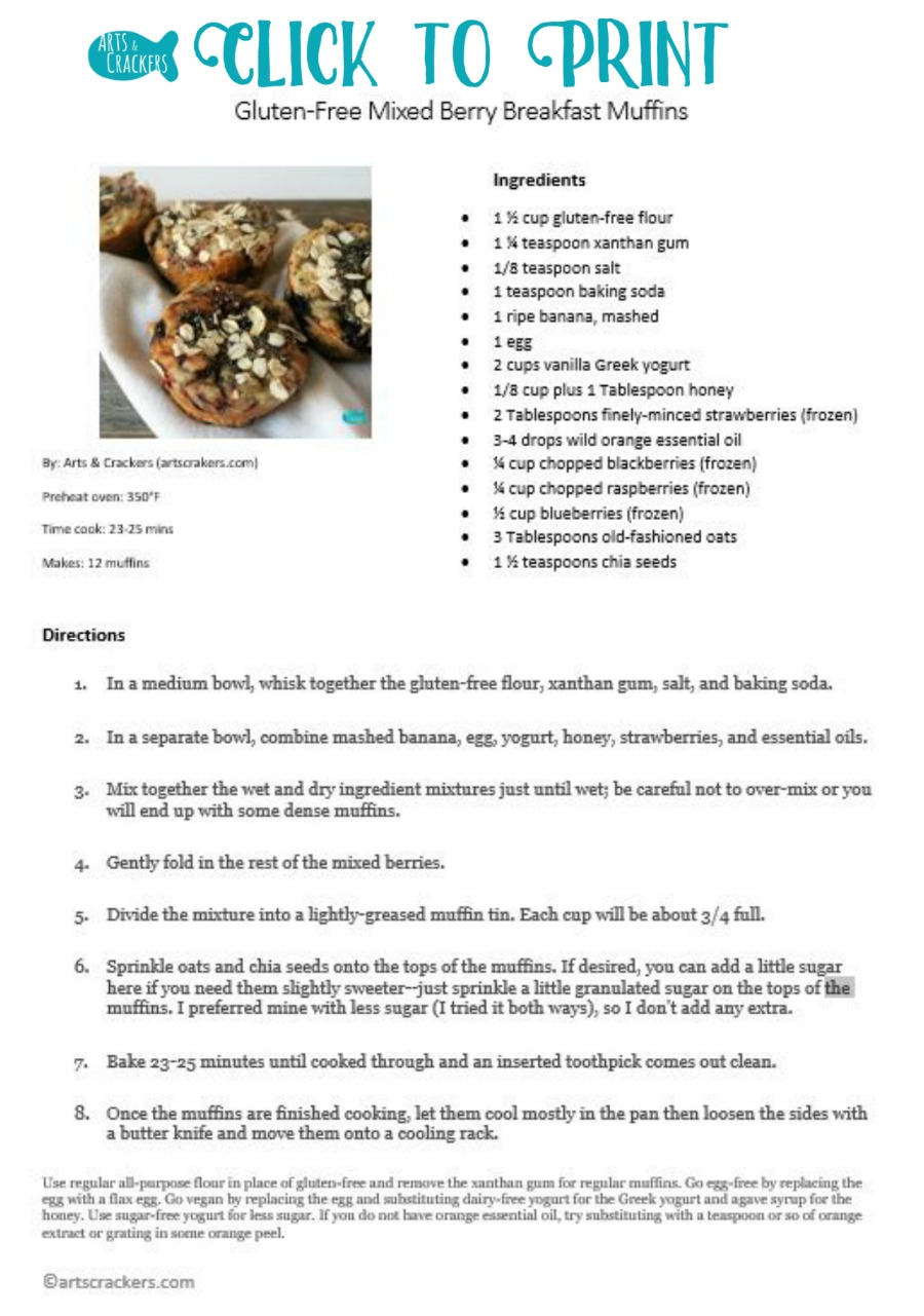 Mixed Berry Breakfast Muffins Gluten-Free Recipe   No Added