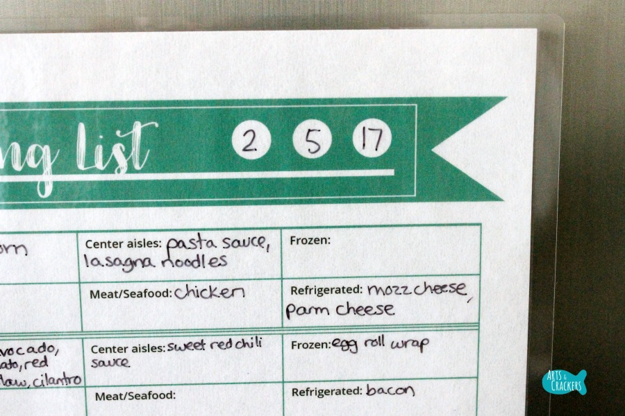 Meal Planning Printable Fridge Close