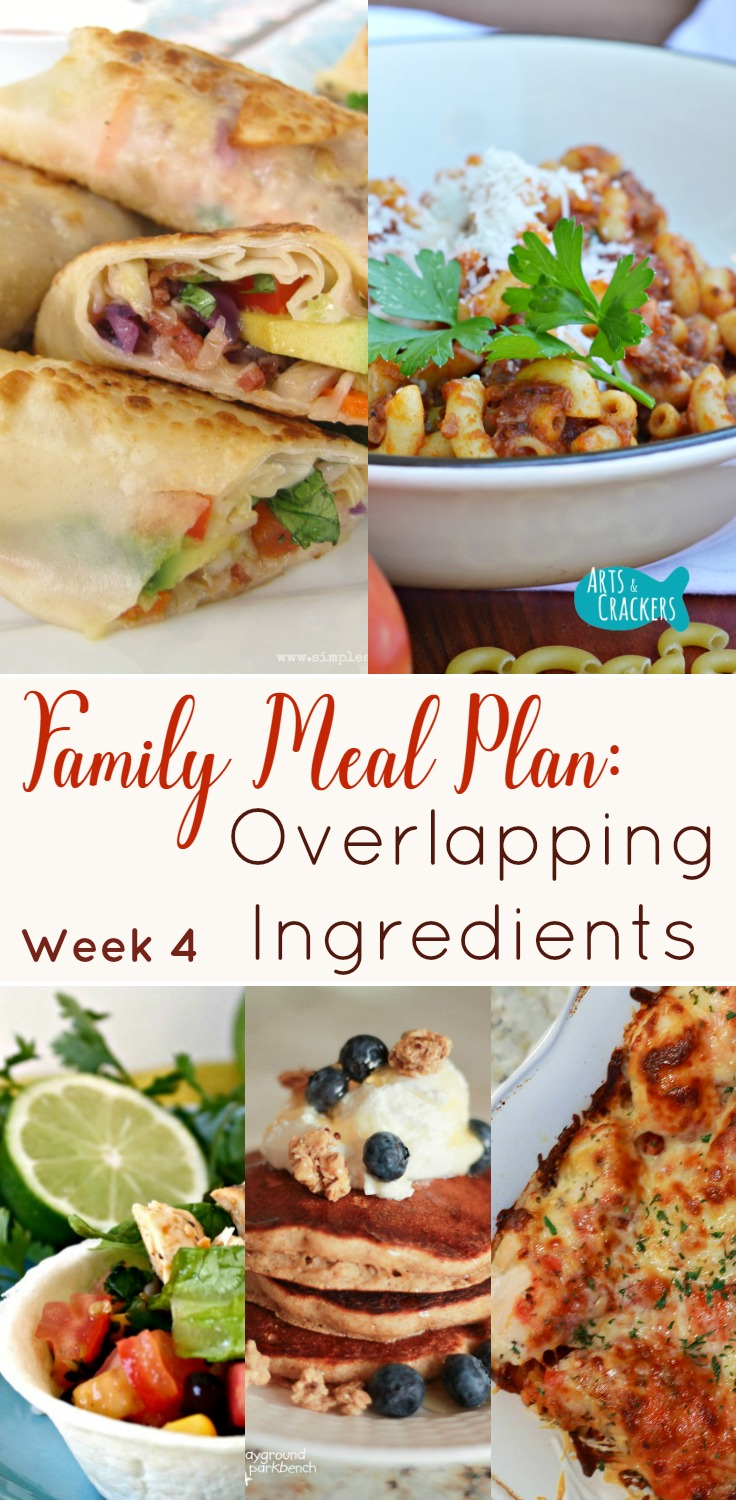 meal planning menu overlapping ingredients week 4