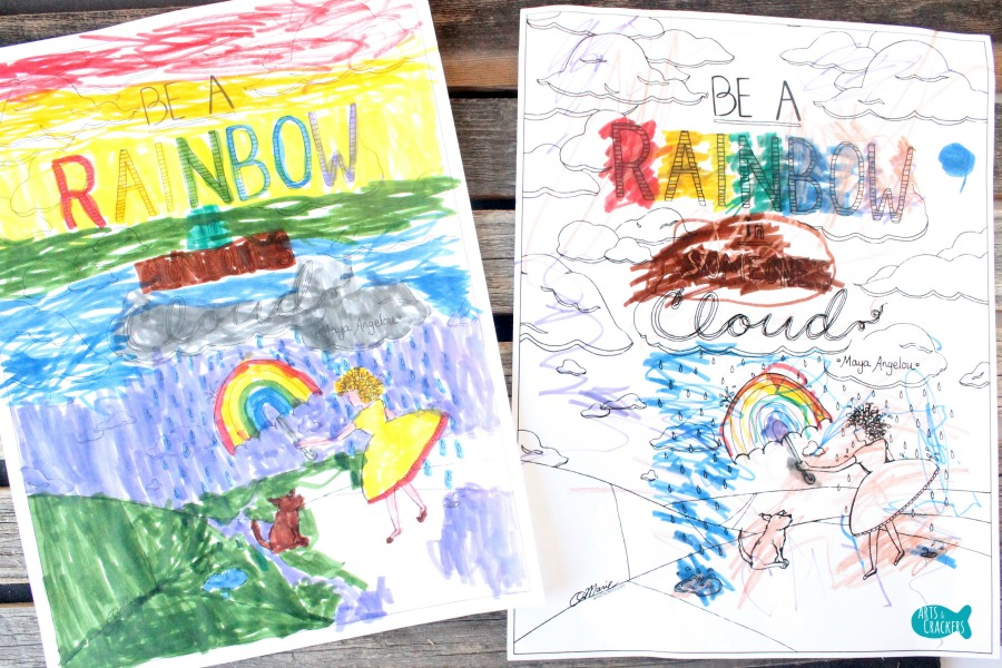 rainbow in someones cloud coloring page boys