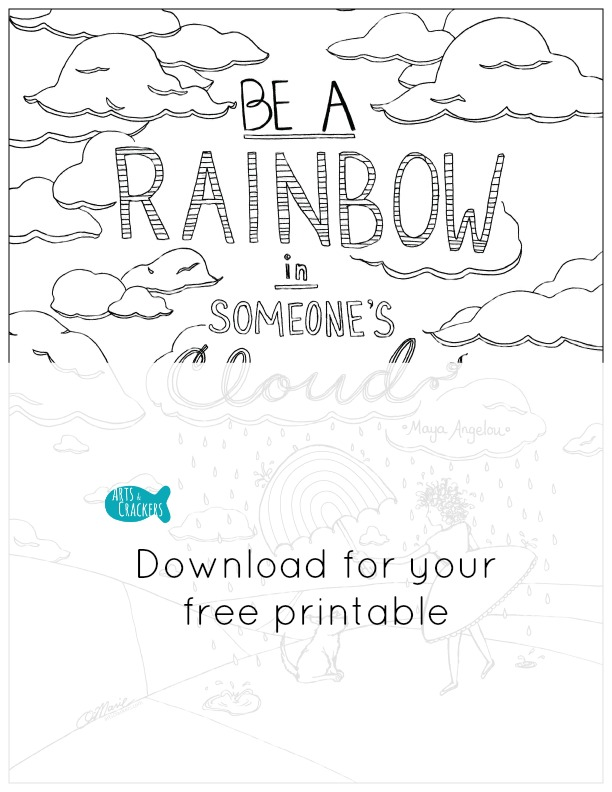 Rainbow with Clouds and Sun - Coloring Page (Nature) | 792x612