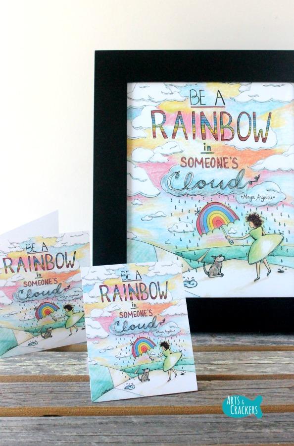 Printable 'Rainbow in Someone's Cloud' Art Print Package