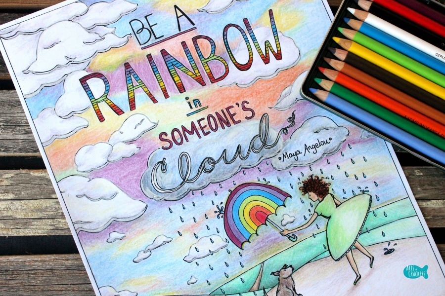 Rainbow in Someone's Cloud Quote Coloring Page for Adults Close Full Color