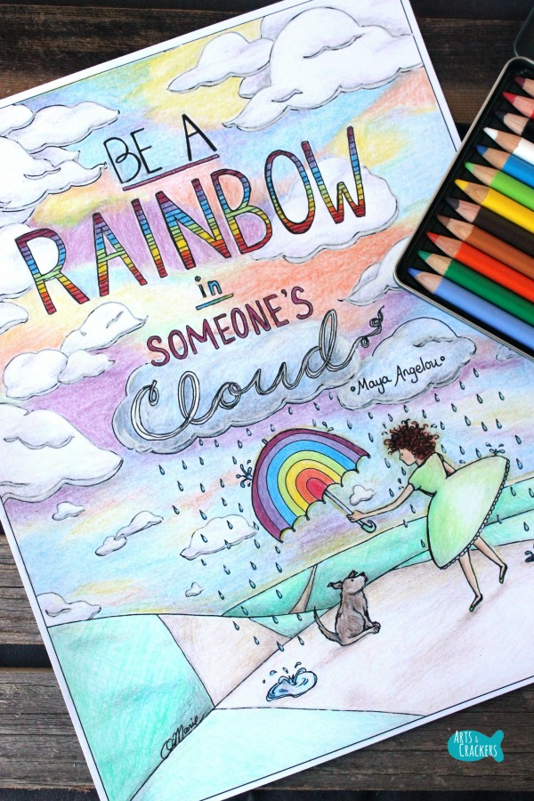 Rainbow in Someone's Cloud Quote Coloring Page for Adults Full Color Long