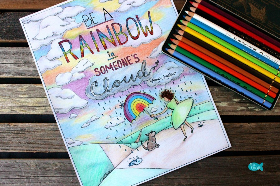 rainbow in someones cloud quote coloring page for adults full color