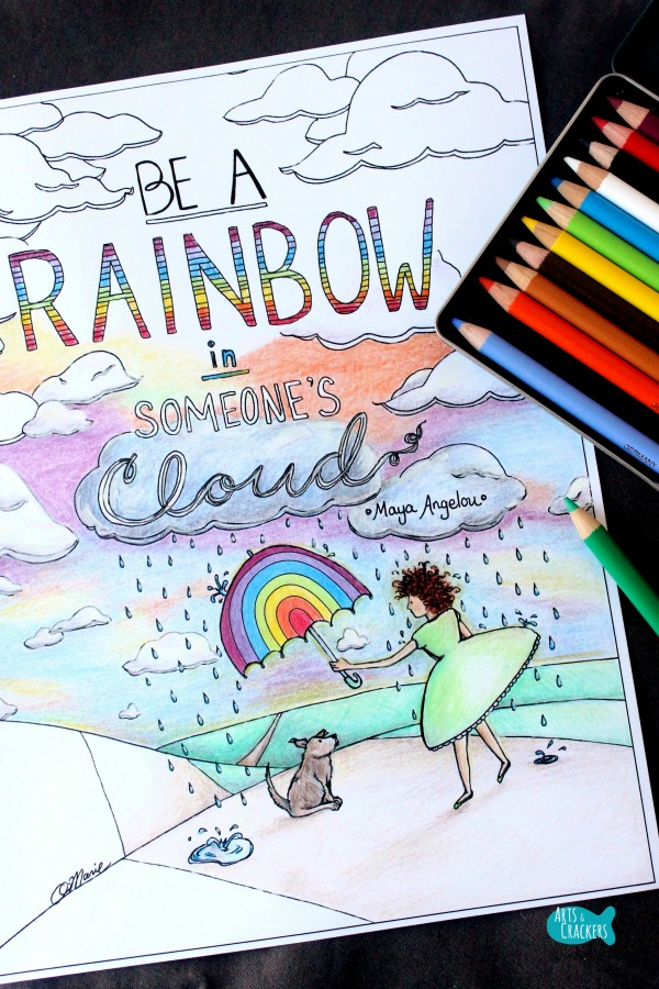 Rainbow in Someone's Cloud Quote Coloring Page for Adults Long