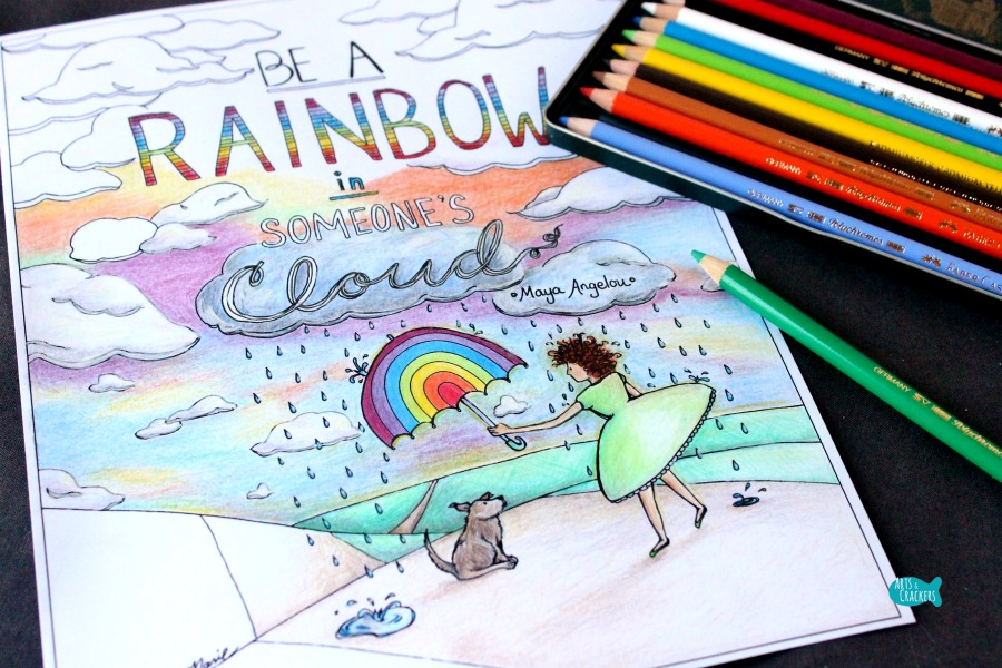 Rainbow in Someone's Cloud Quote Coloring Page for Adults Horizontal