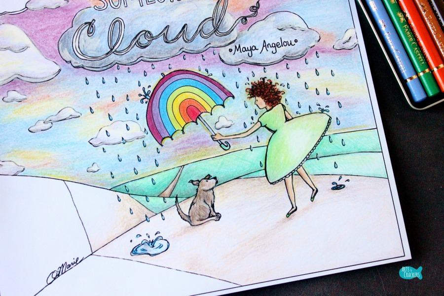 rainbow in someones cloud quote coloring page for adults girl and dog