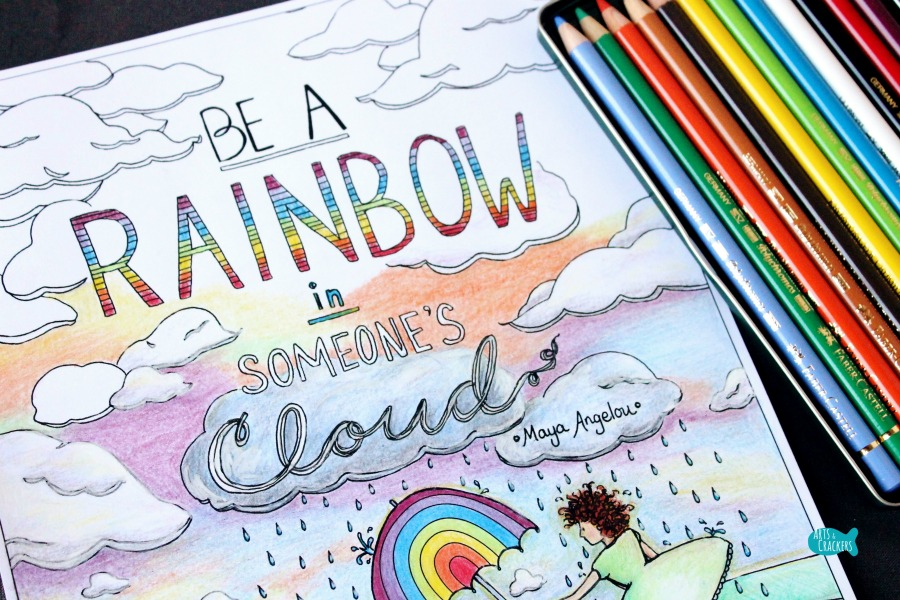 Rainbow in Someone's Cloud Quote Coloring Page for Adults Life Quote